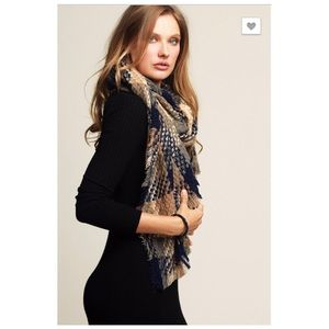 Navy Blue Multicolored Plaid Long Scarf NEW
